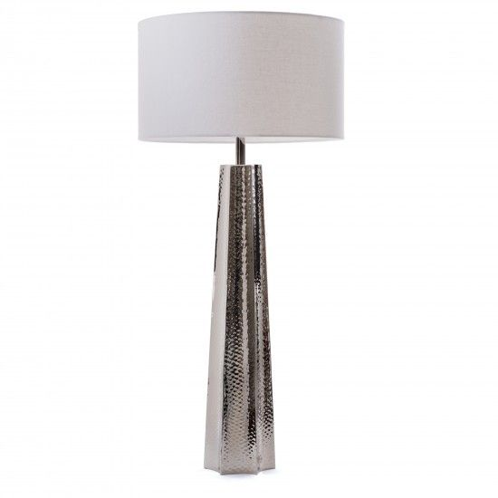 Go home forbes table lamp the go home forbes table lamp features an elongated body in a silver textured finish that brings modern style into your home