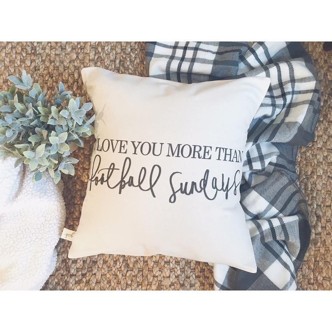 Handmade i love you more than football sundays pillow by pcb home