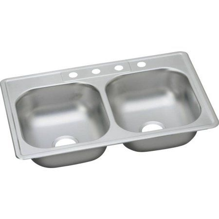 Elkay Ddg233224 Dayton Stainless Steel Double Bowl Top Mount Sink