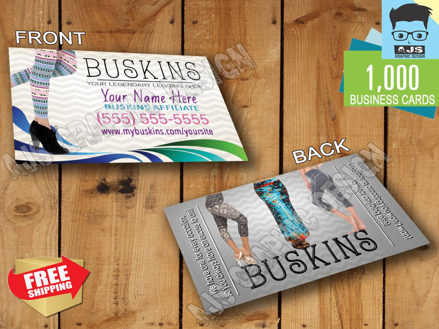 1000 Buskins Business Cards Affiliate • Customized • Free Shipping ...