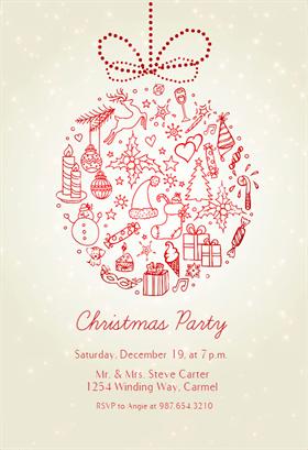 Seasonal Symbols Christmas Invitation Template Free