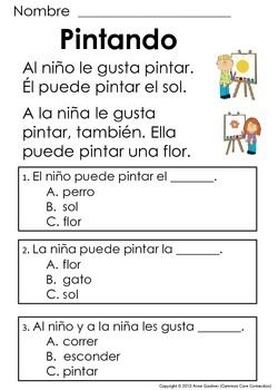 Spanish Reading Comprehension Passages for Beginning Readers {Ideal ...