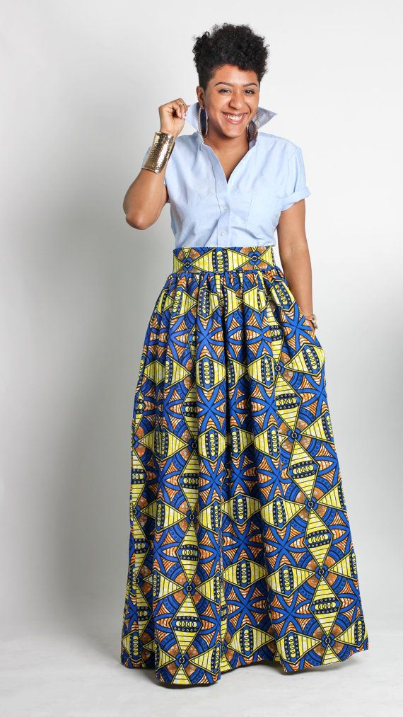 African Print Maxi Skirt Skirt With Pockets Wax By
