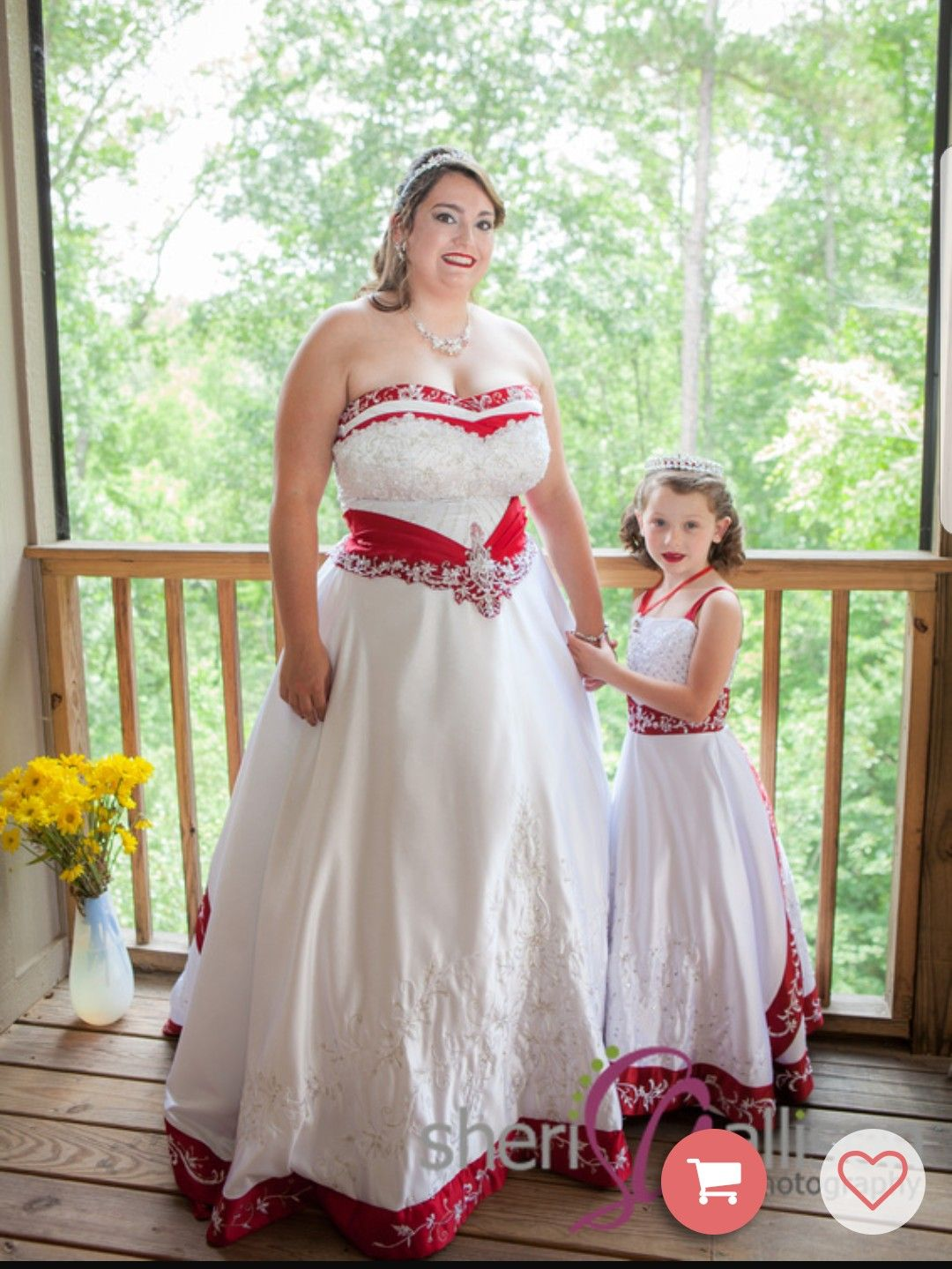 Beautiful Red And White Bride And Matching Miniature Bride Dresses