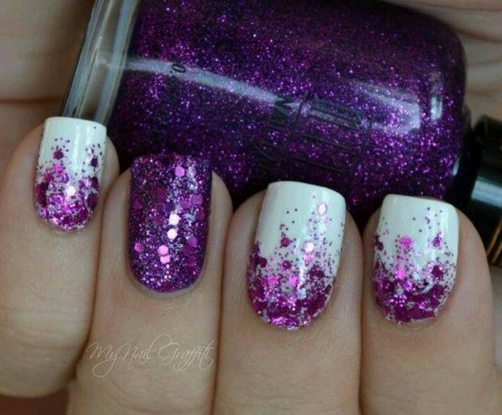 Switch Out The Purpled For Fuchsia Prom Nails Possibly Purple Glitter