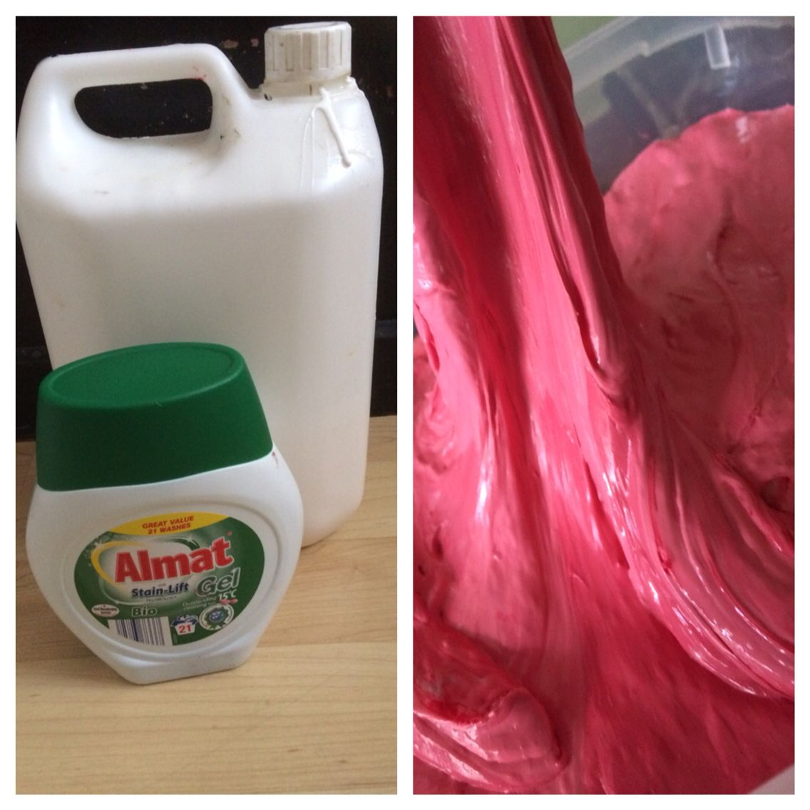 Slime from Aldi washing soap, pva and food colouring | School ...