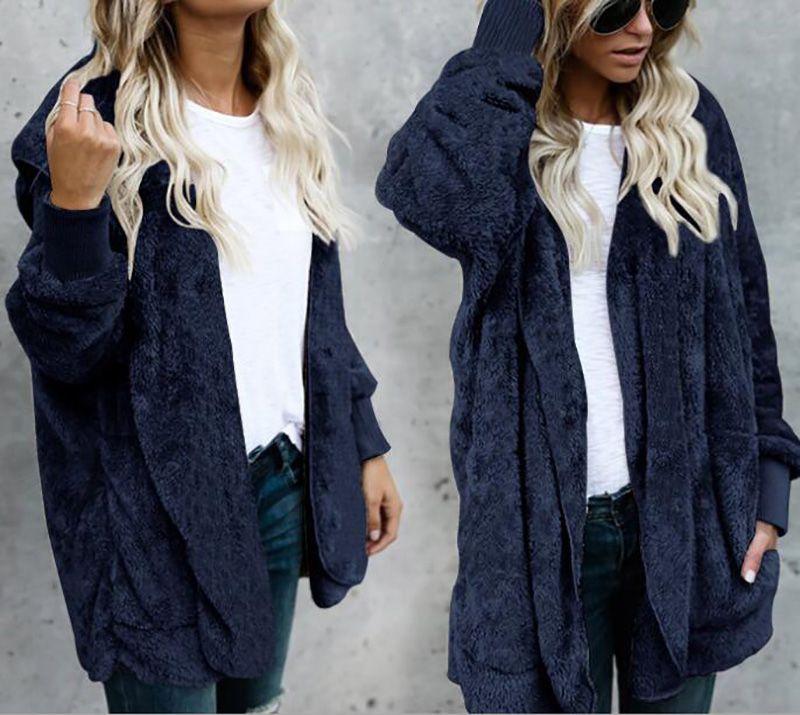 Fashion Women Winter Warm Fur Sweater Jacket Tops Hooded Fluffy Coat Outerwear