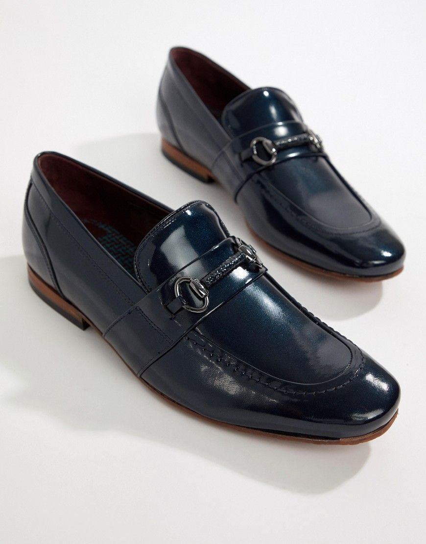 d5b8e32e872048 TED BAKER PAISER EMBOSSED LOAFERS IN PATENT NAVY LEATHER - NAVY.  tedbaker   shoes