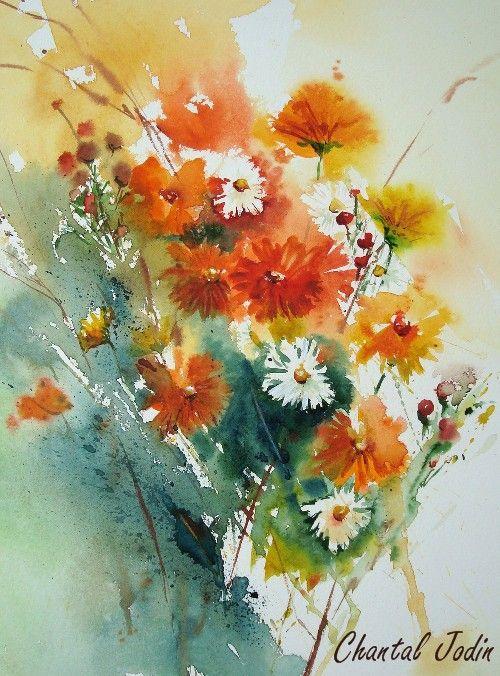 Bouquets Chantal Jodin Aquarelle Florale Peinture Fleurs Et