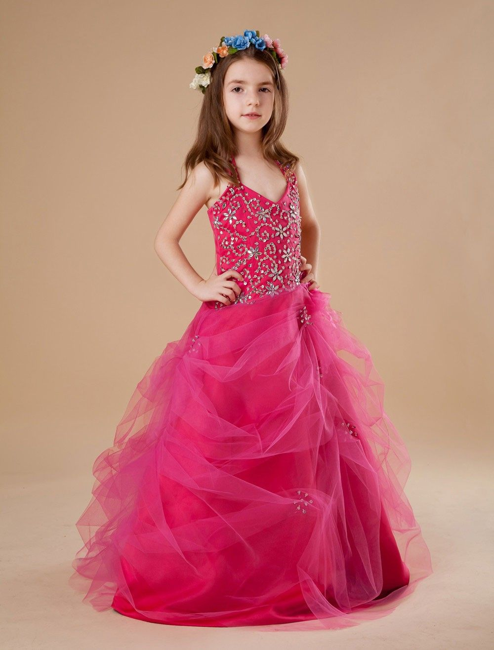 Popular Red Tulle Halter Floor Length Little Girl's Dress | Girl ...