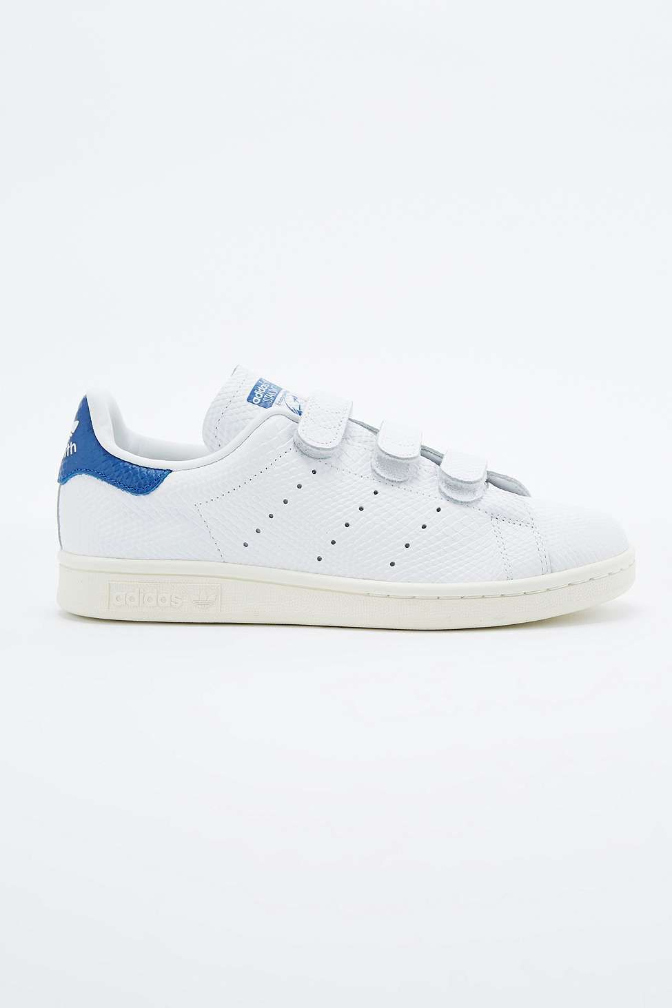 6ac237326841 adidas Originals Stan Smith White   Blue Velcro Trainers