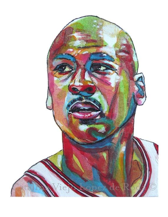 innovative design 5c2ec f06e3 Chicago Bulls Michael Jordan Painting Reproduction Print