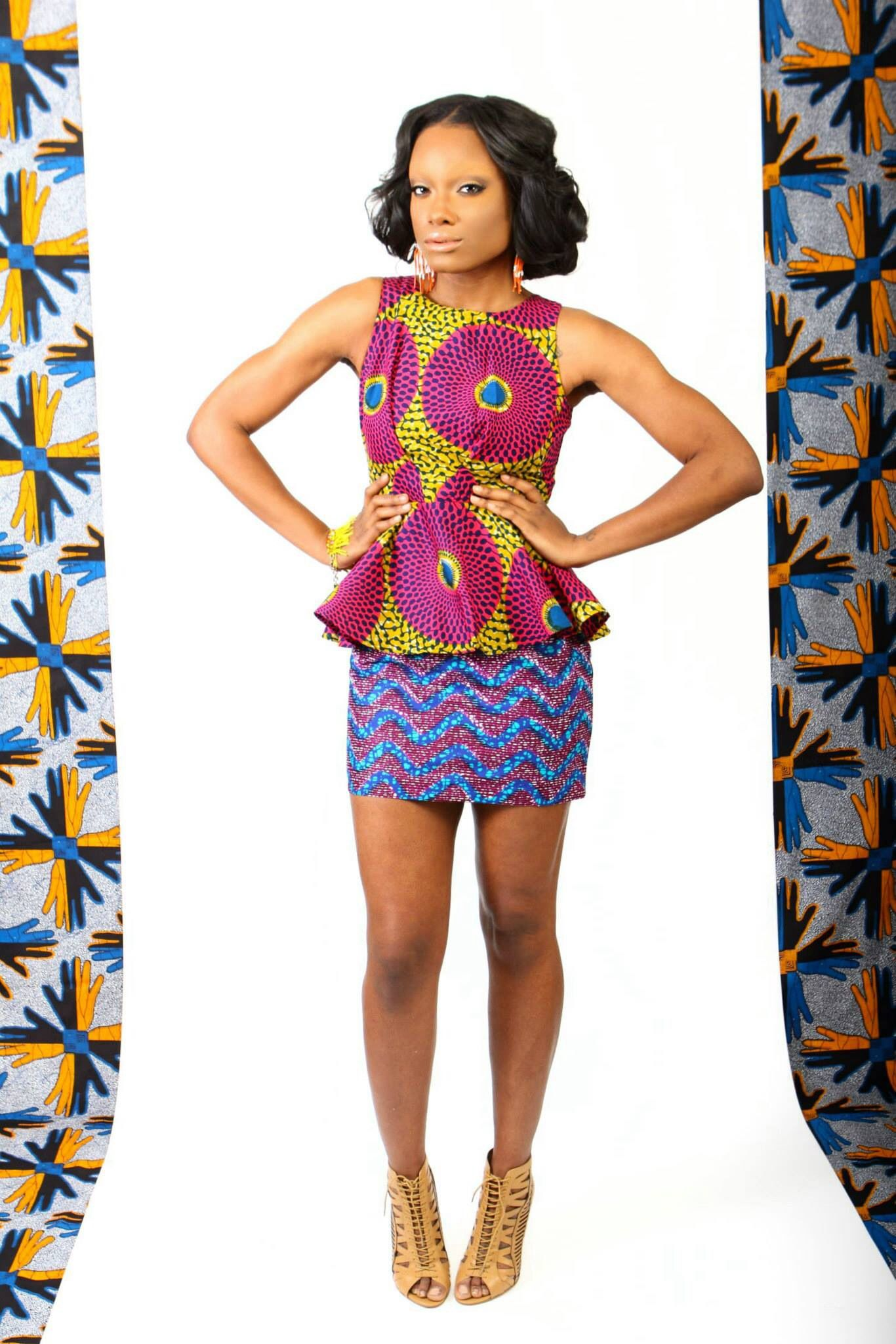suakoko betty Peplum dress, made with authentic African Wax print ...