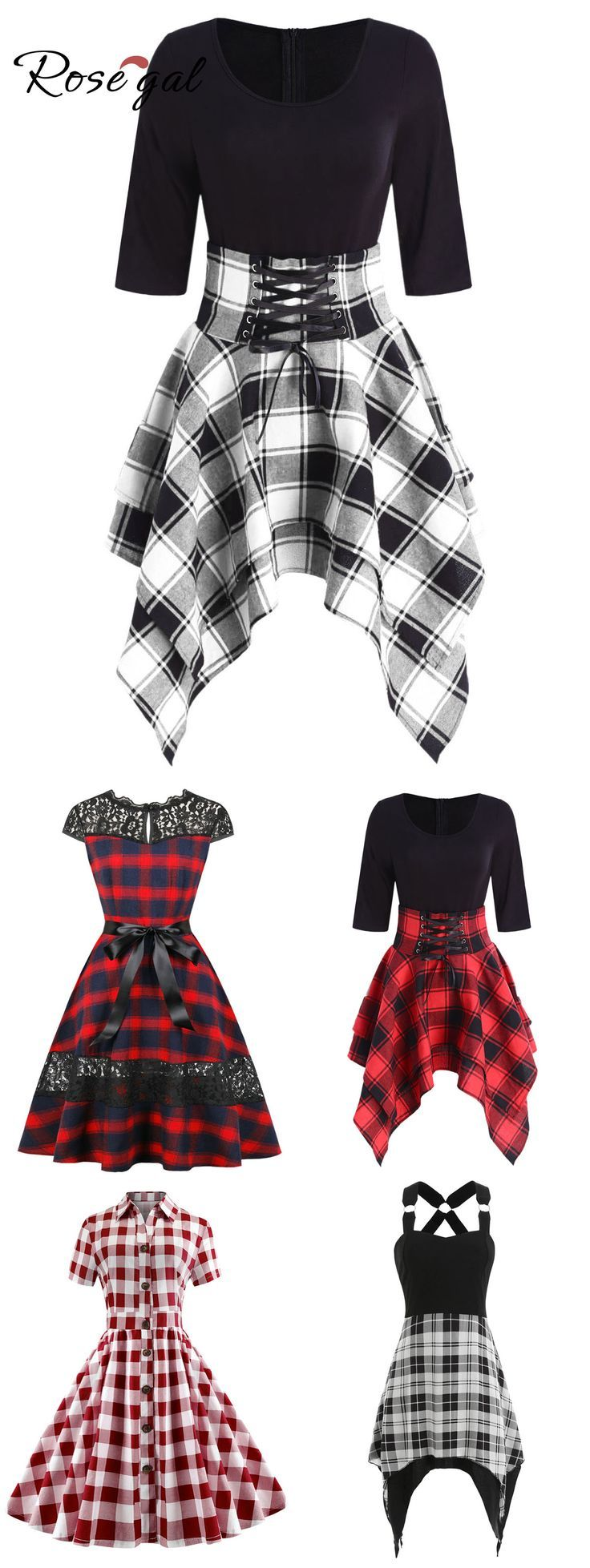 Rosegal Freizeitkleid kariertes Kleid für Damen 2
