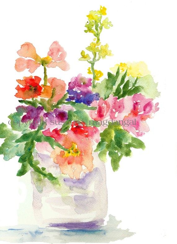 As Seen In Victoria Magazine, A Pastel Bouquet, Watercolor Flower ...