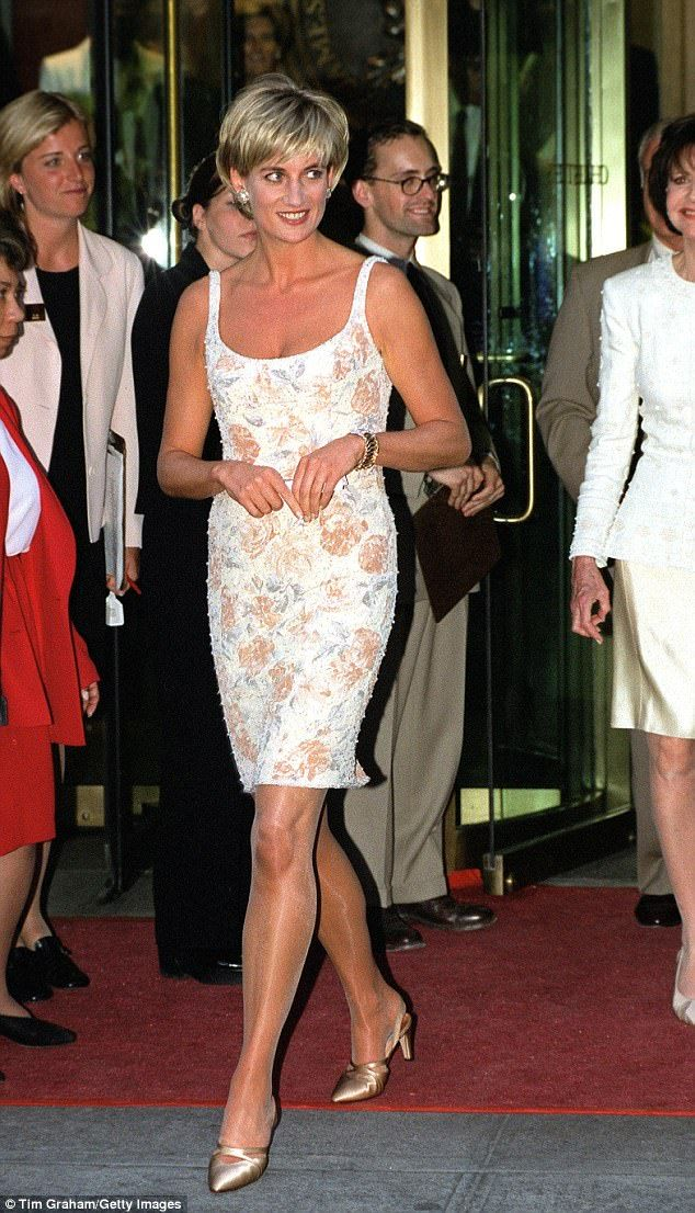 Just two months before she died, Diana showed off her increasing confidence in a sequinned dress by Catherine Walker in New York paired with gold Jimmy Choos