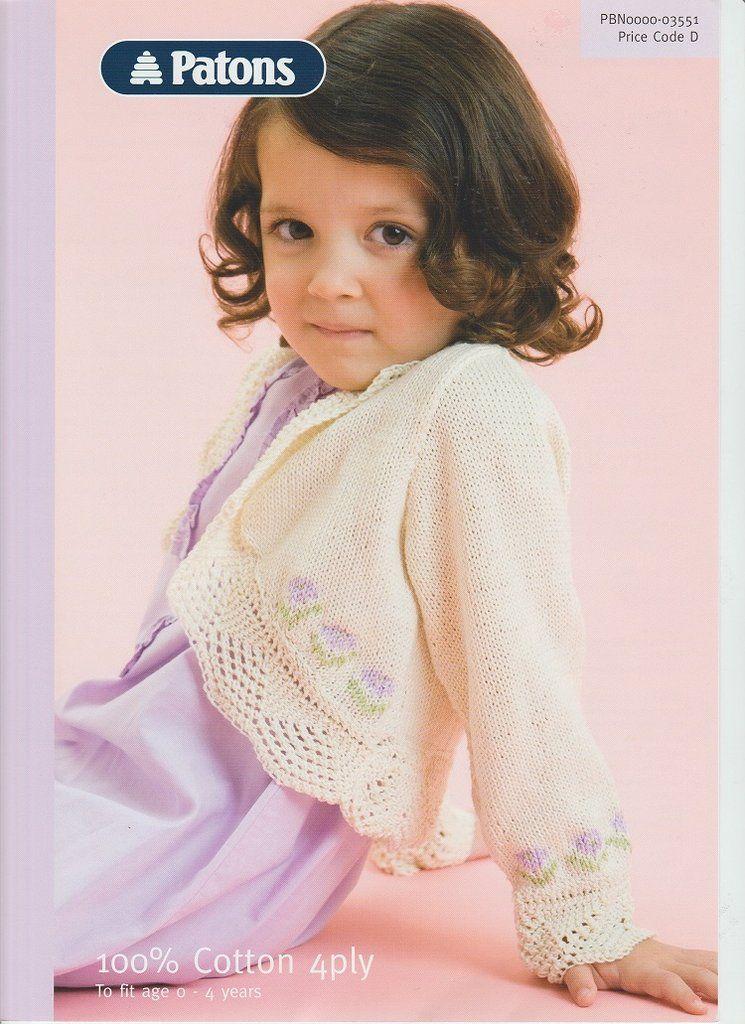 Knitting Pattern Leaflet Patons 4ply Lace Edge Bolero ...