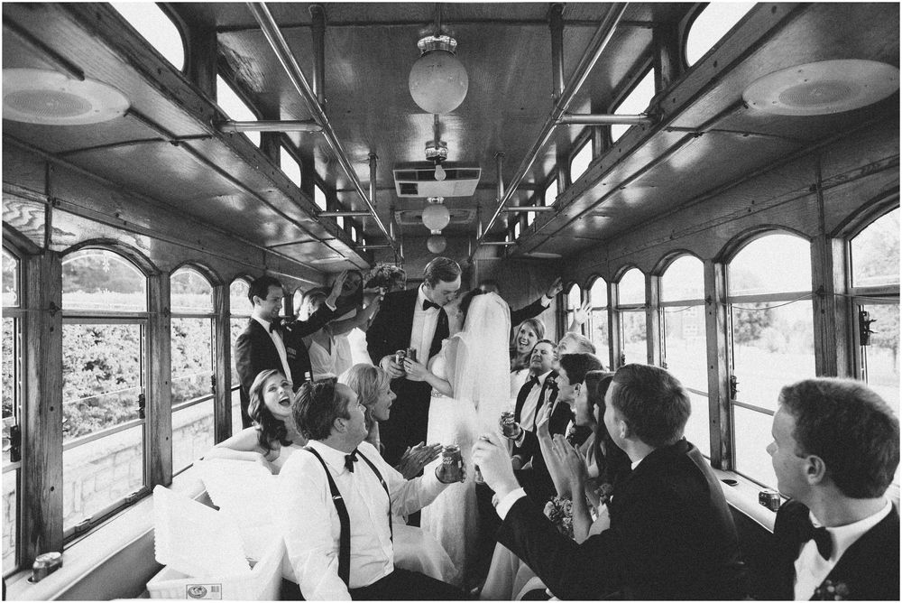 Wedding trolley and first kiss