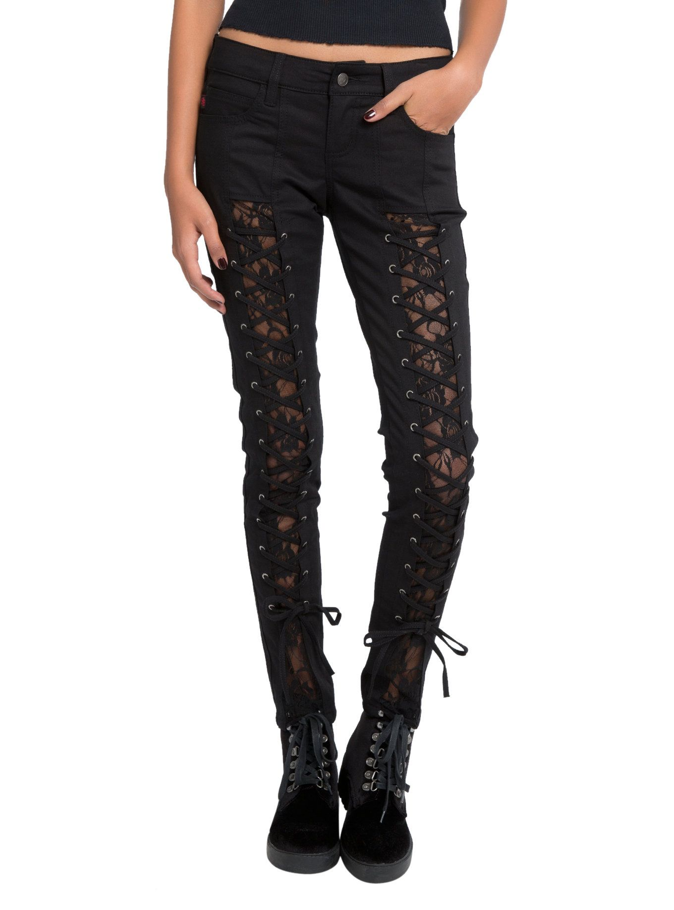 7b2fd8503ce80d Black skinny jeans from Royal Bones with strap and buckle accents down the  legs. I really want these. | Concert clothes | Buckle jeans, Jeans, Denim  pants