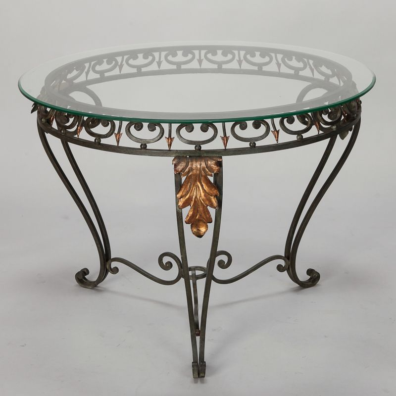 Italian Glass Top Table With Green Iron Frame And Gilt Metal
