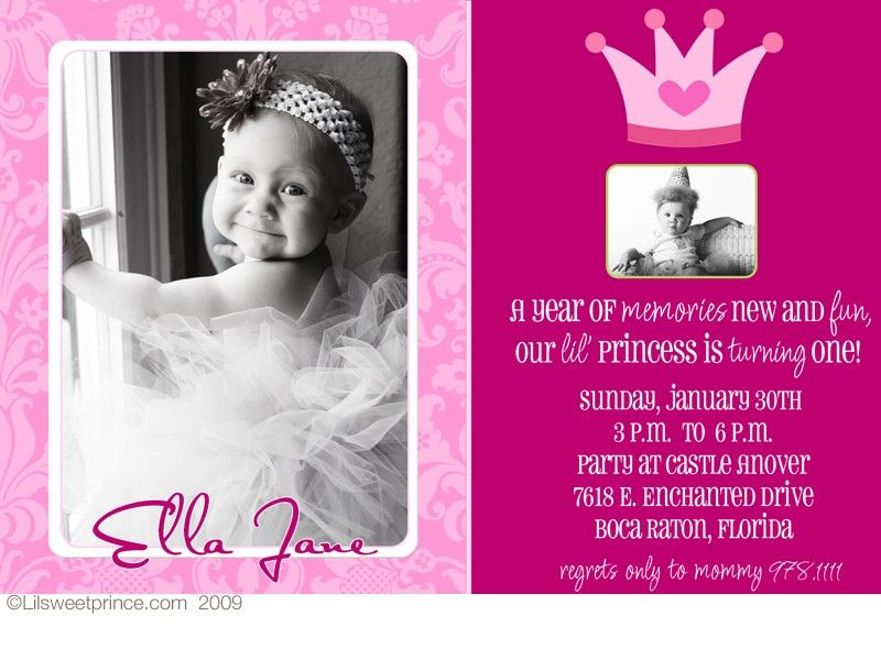baby girl first birthday invitations | Pink Princess Birthday ...