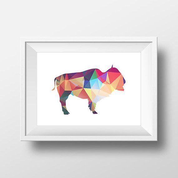 Buffalo Print, Printable Art Print, Bison Wall Art, Bright