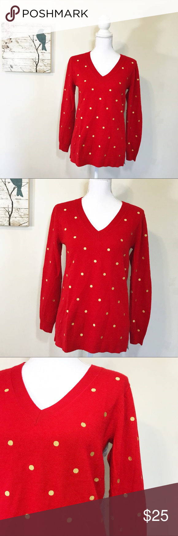 J crew red gray embroidered dot tunic sweater j crew factory red
