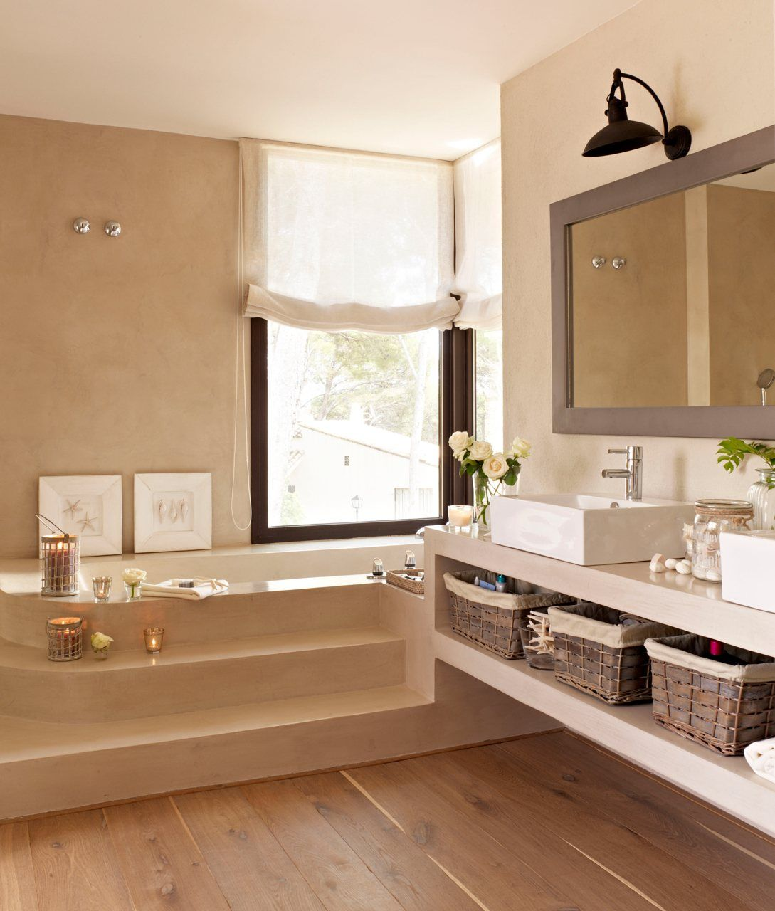 Ba o actual zalo sin gastar mucho bathroom koupelna for Pared de bano de concreto encerado