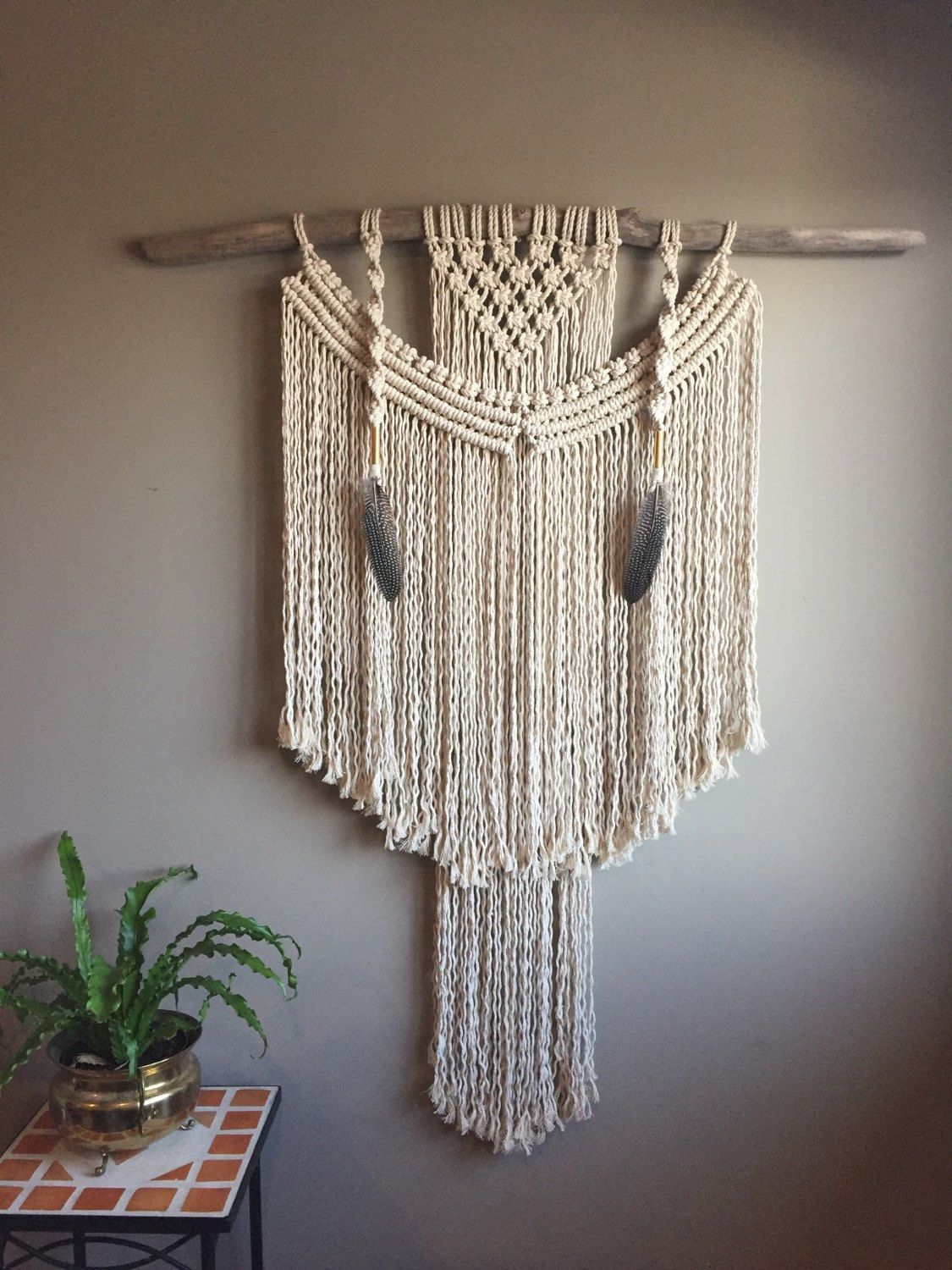 42 x large macramé wall hanging ooak driftwood feathers on large wall art id=52513