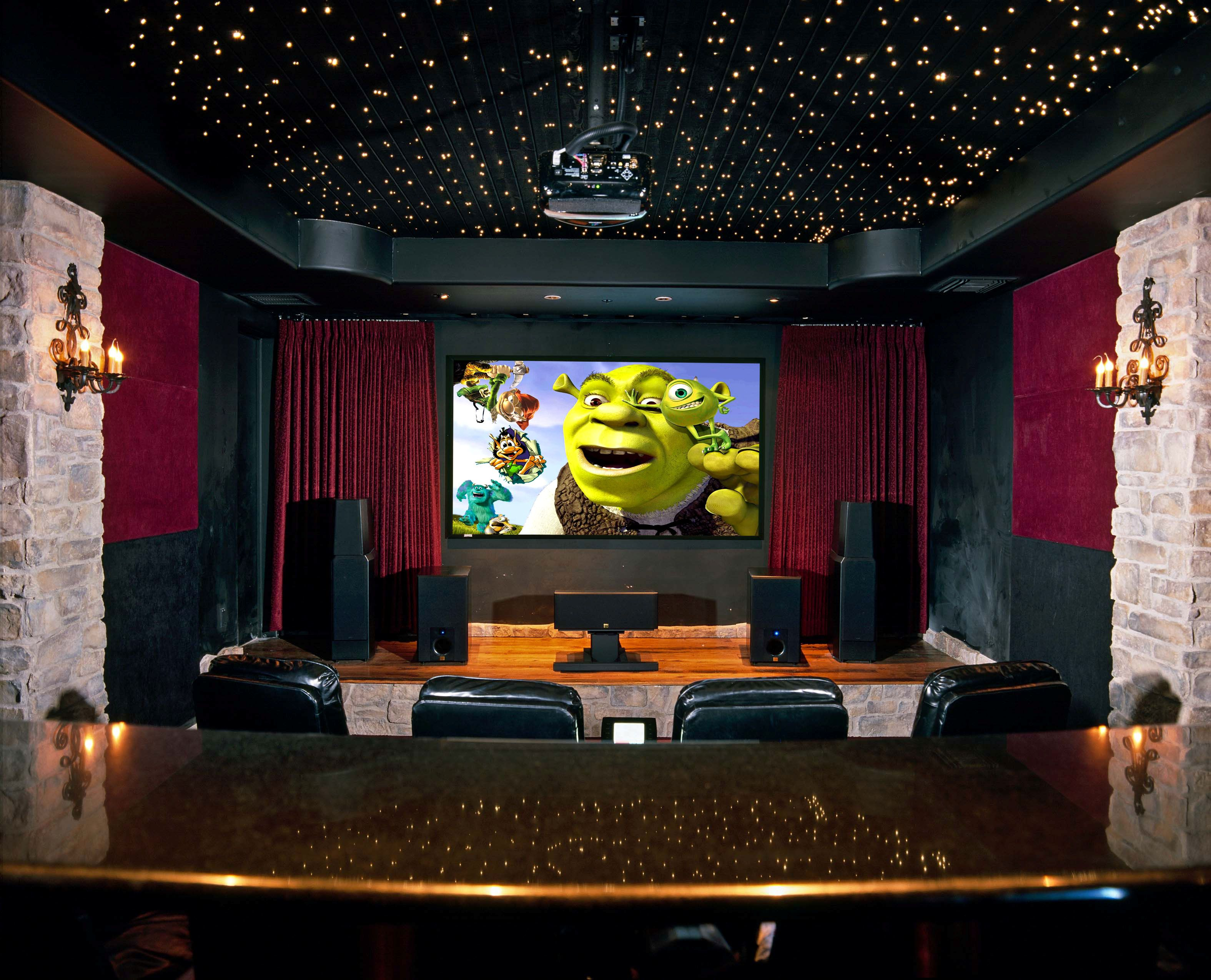 Decorating Beautiful Home Theater Room With Ceiling Design Full Of Stars And Black Leather Seats Ideas Also Sound Amazing