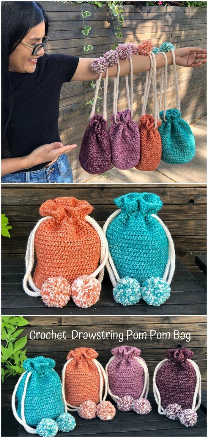 Drawstring Pom Pom Bag - Free Crochet Pattern