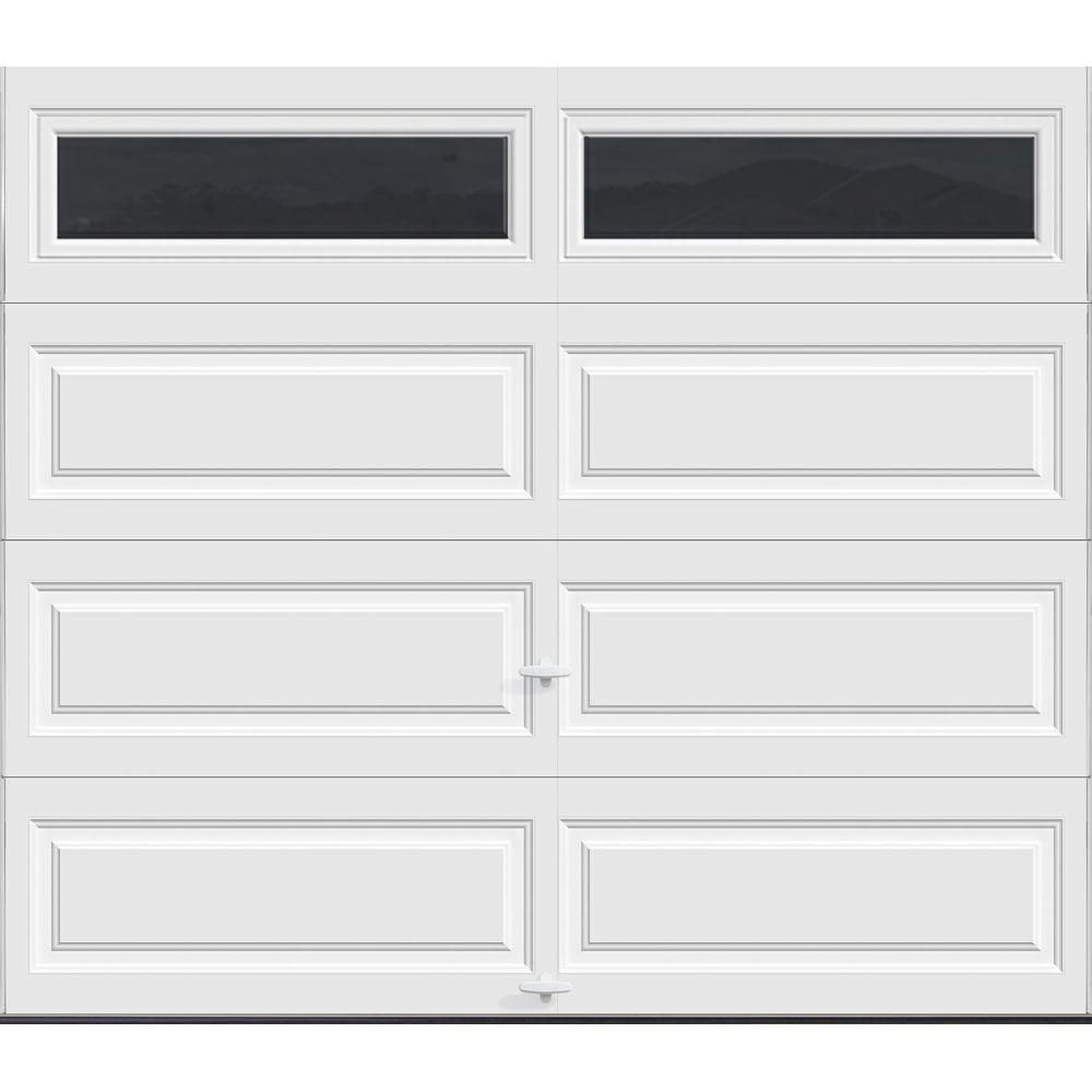 Clopay Classic Collection 8 Ft X 7 Ft 12 9 R Value Intellicore Insulated White Garage Door With Windows Exceptional Hdpl13 Sw Plain The Home Depot Garage Doors White Garage Doors Garage Door Panels