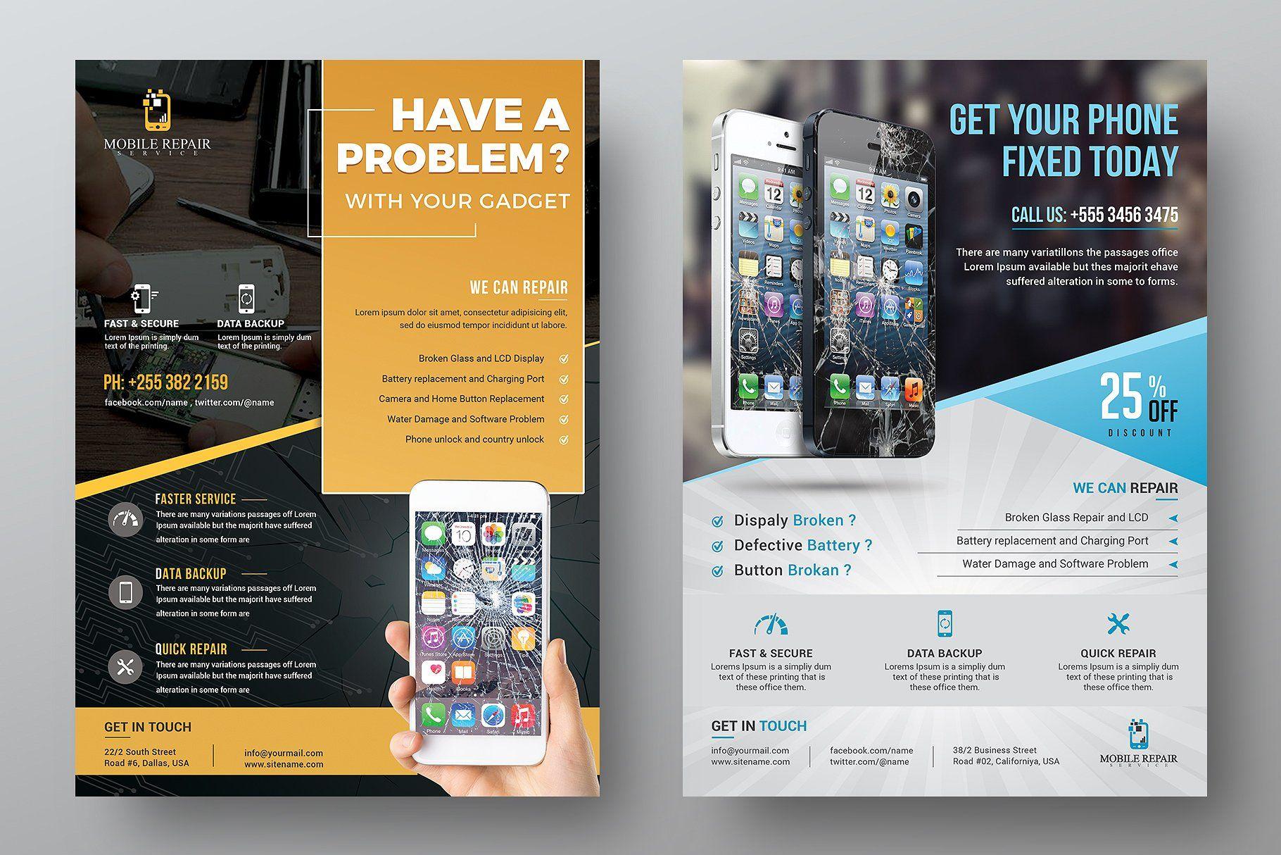 Mobile Repair Service Flyer Bundle Smartphone Repair Flyer
