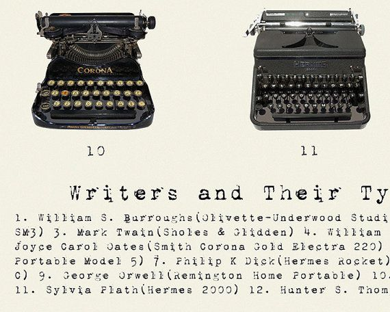 Writers and Their Typewriters Literary Poster by PigeonEditions