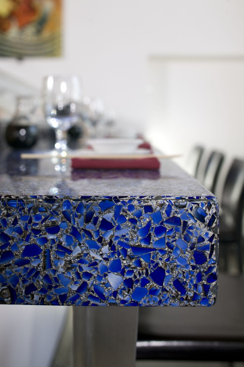 Vetrazzo Cobalt Skyy W Patina Recycled Glass Countertop Unique Kitchen Countertops Recycled Glass Countertops Glass Countertops