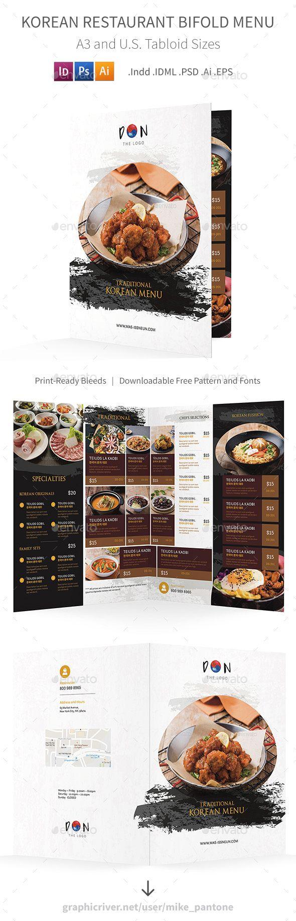 Korean Restaurant Bifold Halffold Brochure Ai Illustrator - Half fold brochure template free