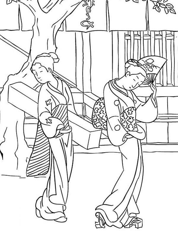 Famous Paintings, Japanese Geisha Famous Painting Coloring Pages ...