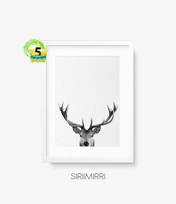 image about Printable Antlers named Deer Print, Deer Antlers, Woodlands Decor, Wilderness Wall