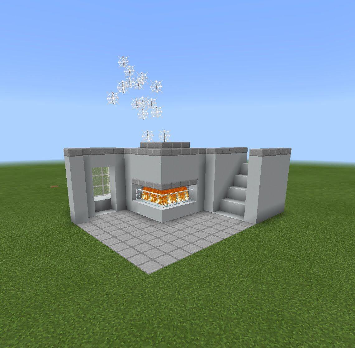 Large Glass Walled Minecraft House: -Stone Slab -Glass Pane -Fire(Netherrack+Flint & Steel