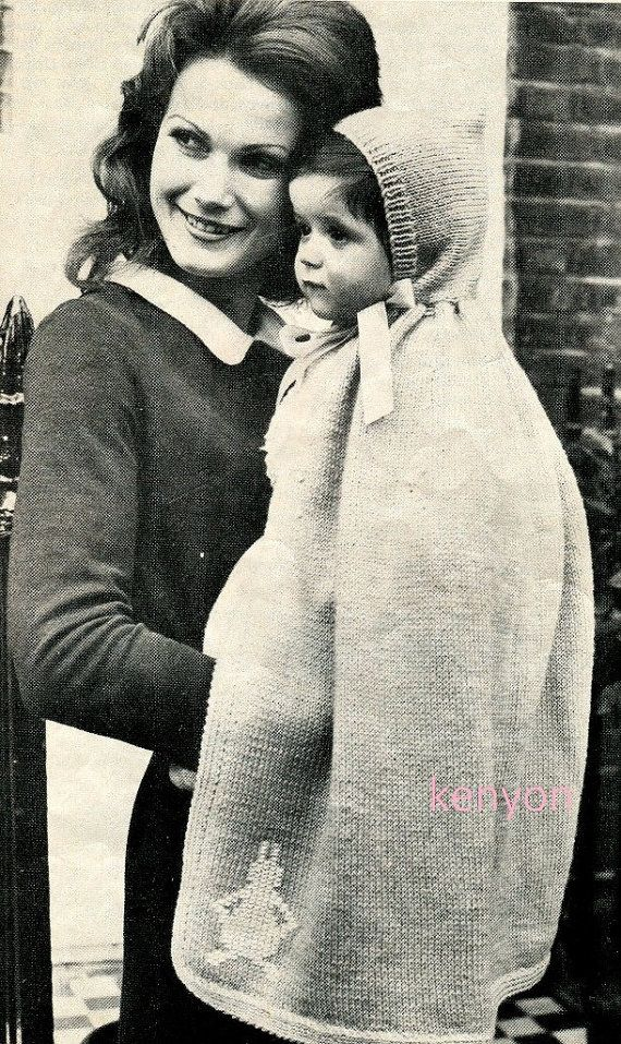 Instant Download BABY HOODED CAPE Knitting Pattern - Long Cape with ...