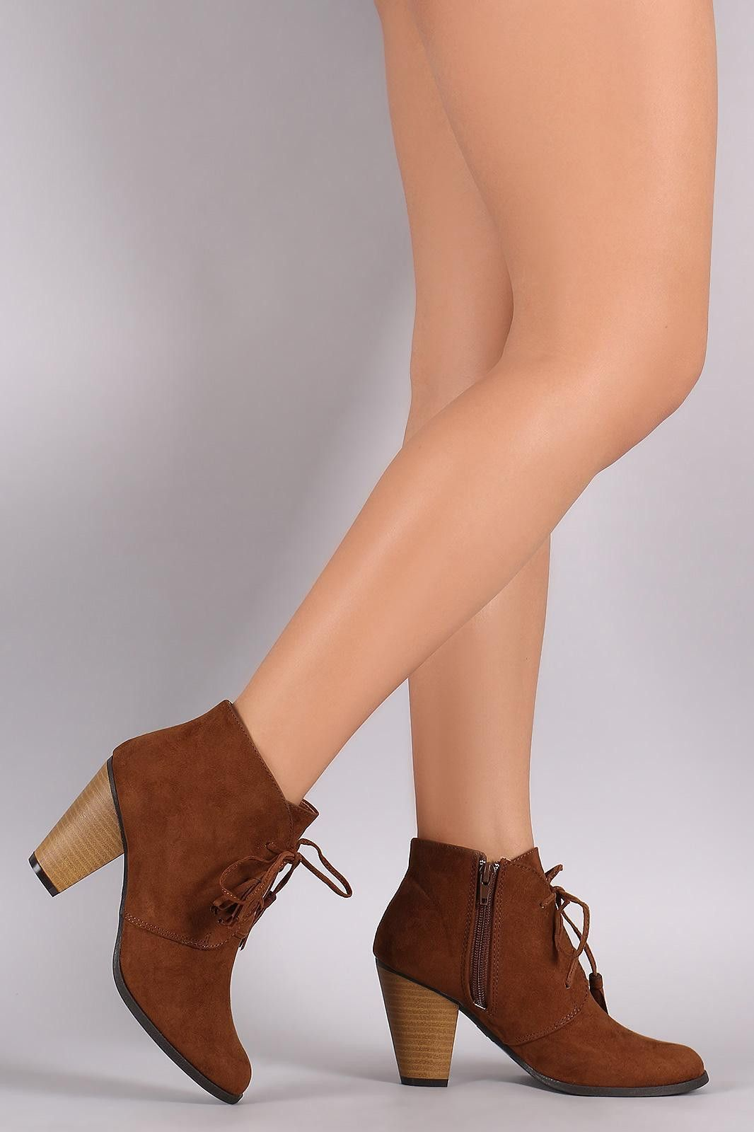 Qupid Suede Western Cowgirl Lace Up Ankle Boots