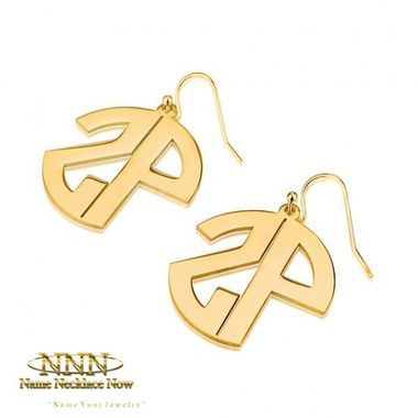 K Gold Plated Capital No Border  Letters Monogram Earrings