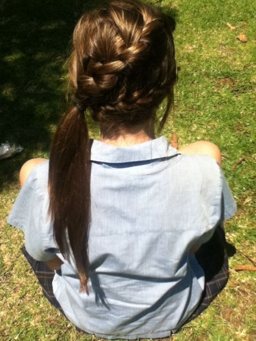 Braids into a ponytail. I HAVE to learn how to do this for summer.