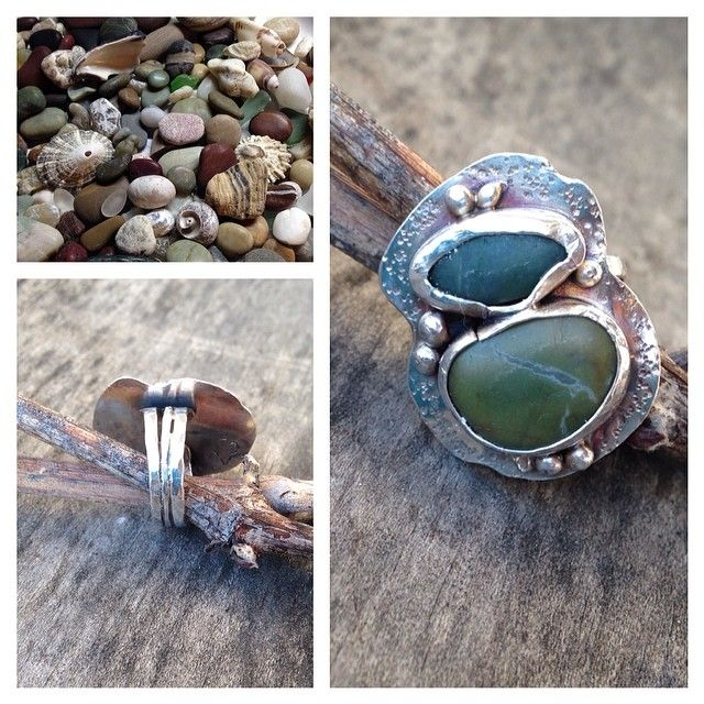 Size 5 1/2 sterling and fine silver with California beach stones by Zona Sherman Designs.