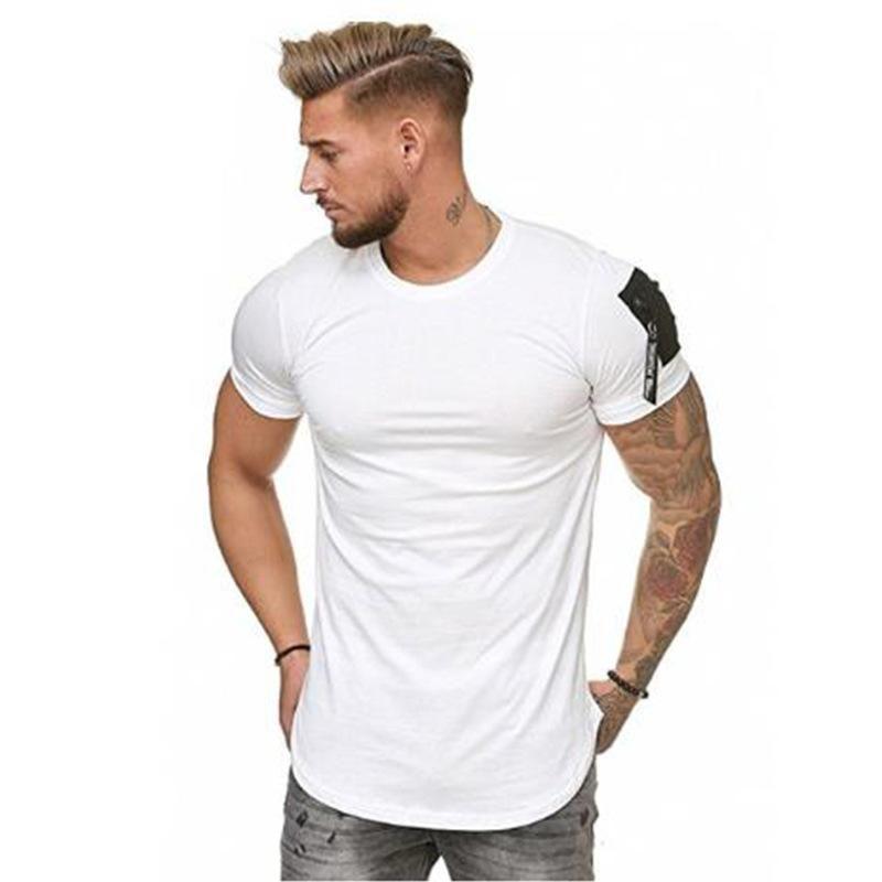 Summer Men Short Sleeve Crew Neck Cotton T-shirt Tops Blouse Casual Slim Tee