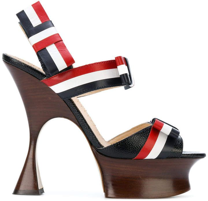 Thom Browne Open Toe Shaped Platform Heel (15 Cm) With Bow Strap In Pebble Lucido Leather & Calf Leather cheap sale outlet store cheap sale high quality clearance purchase clearance for cheap DykVM2Jd