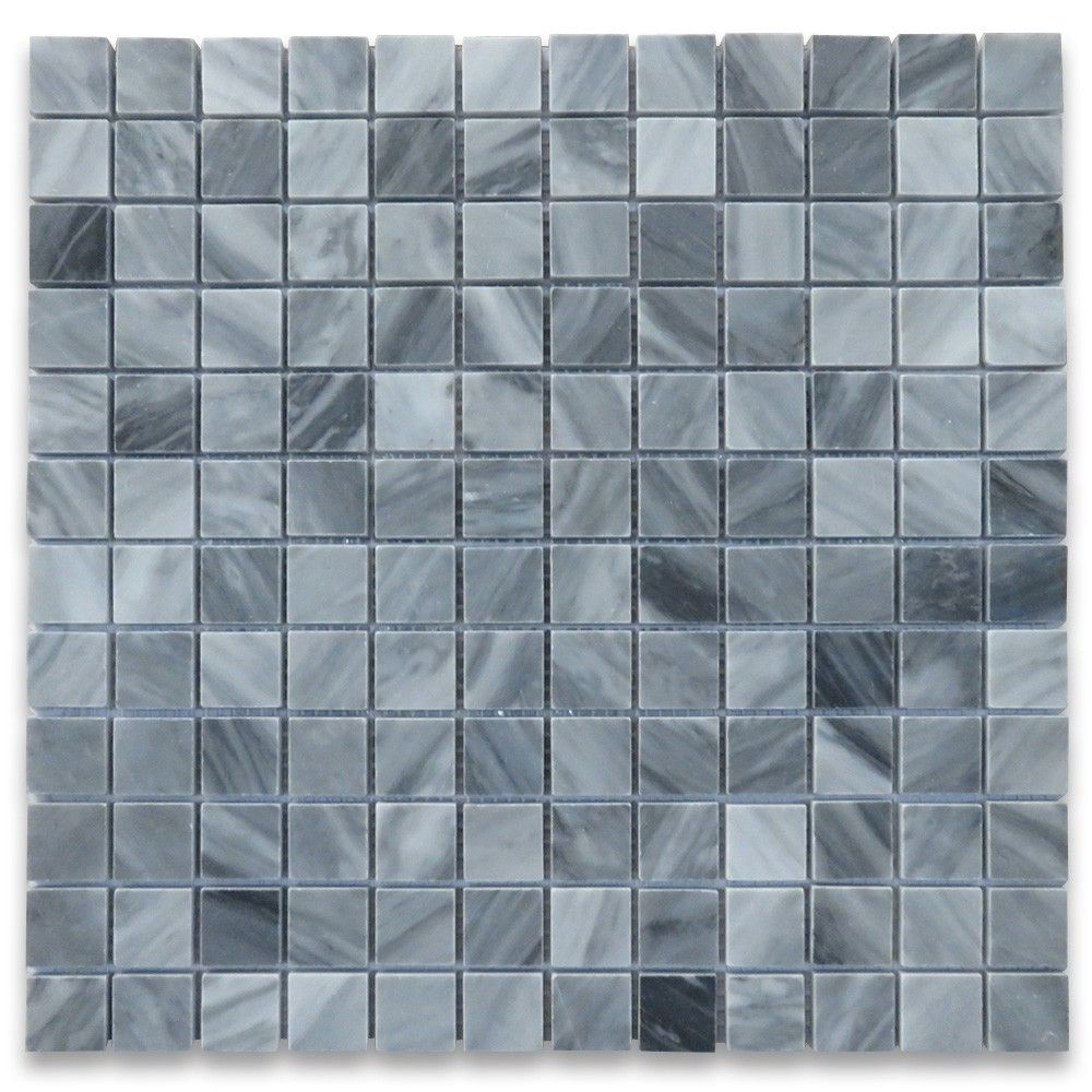 Bardiglio Gray Marble 1x1 Square Mosaic Tile Polished Marble Square Mosaic Tiles Mosaic Floor Bathroom