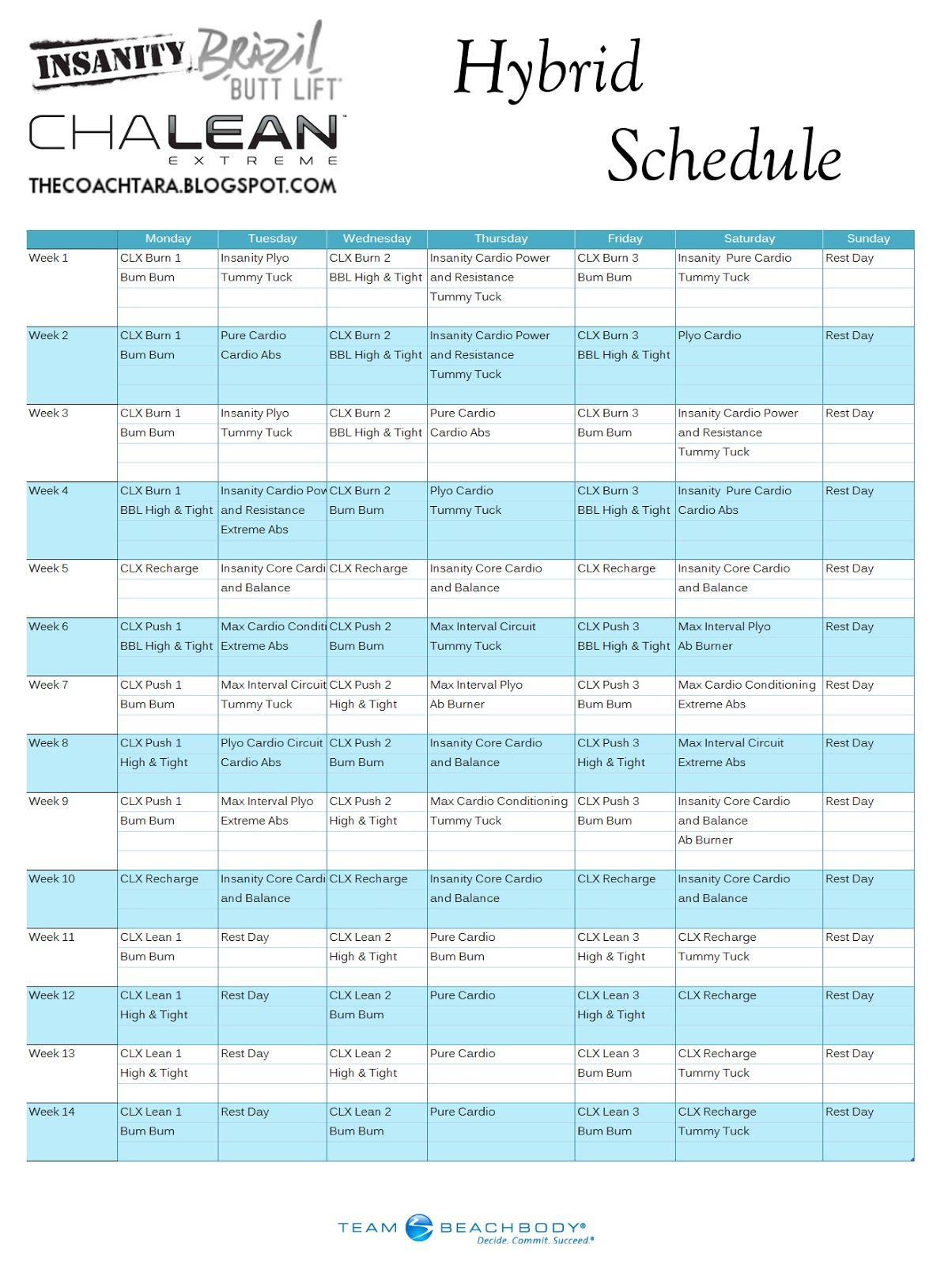 Worksheets Chalean Extreme Worksheets insanity chalean extreme brazil butt lift hybrid schedule free printable calendar journey to