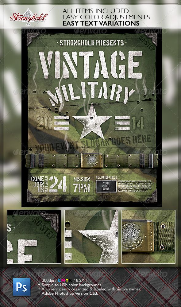 Vintage Military Armed Forces Flyer Template  Armed Forces Flyer