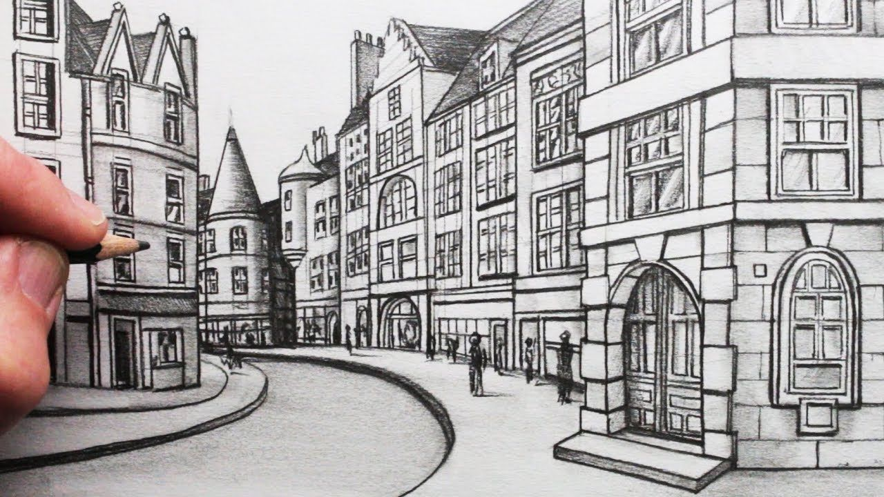 How To Draw Buildings In Perspective A Street In Edinburgh Youtube Perspective Drawing Architecture Perspective Art Town Drawing